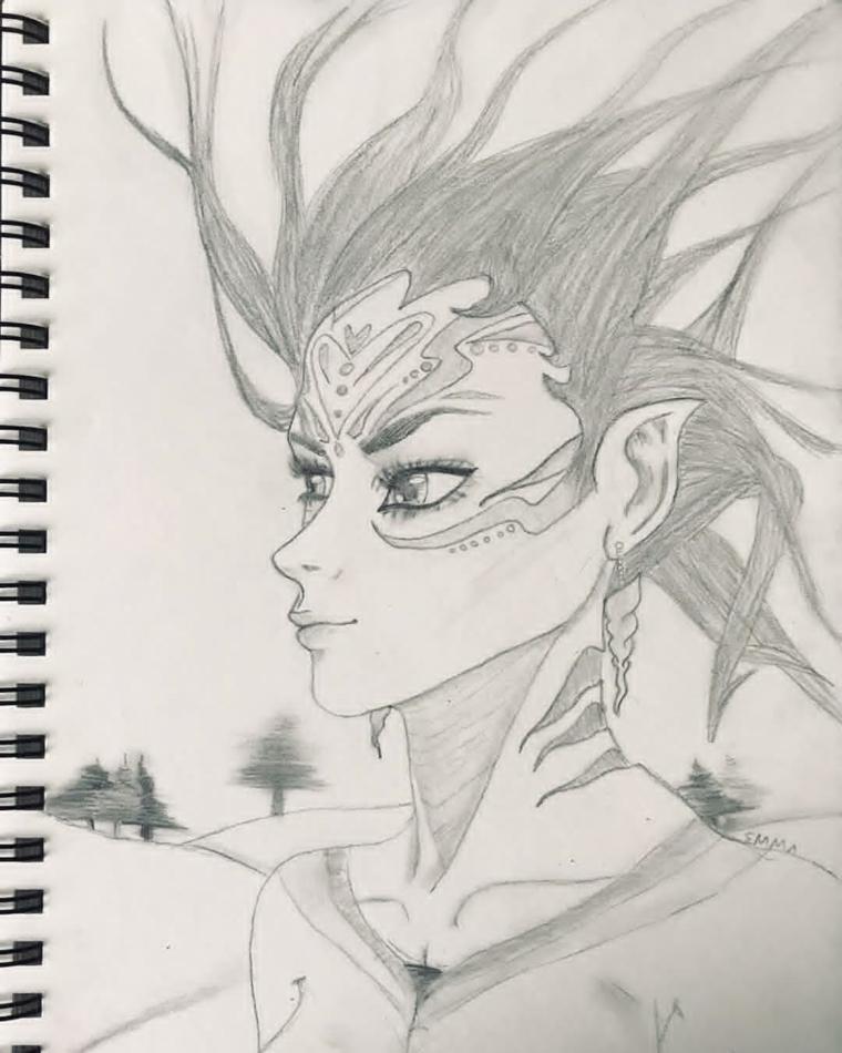 Disegno su un quaderno, quaderno ad anelli, disegno di un personaggio cartoni animati