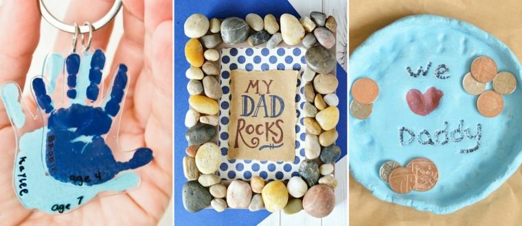Regali per il papà, portachiavi con manine, cornice con sassolini, portamonete con scritta
