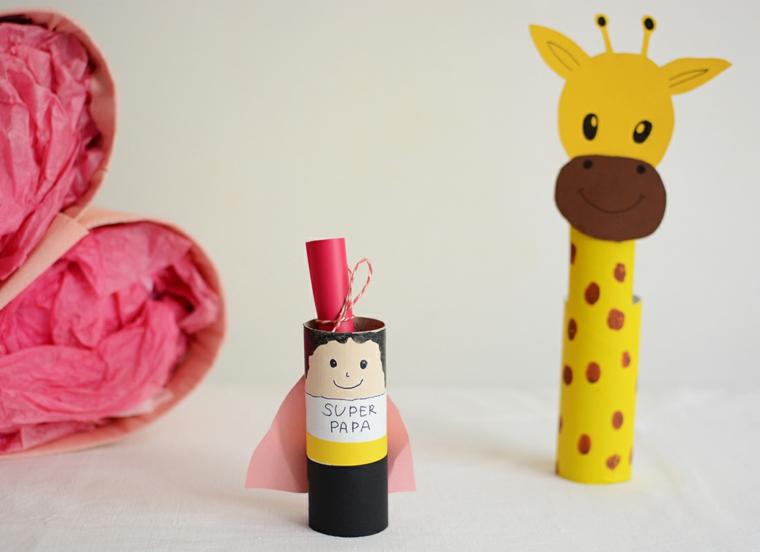 Portapenne di carta, rotoli di carta igienica, disegno di una giraffa