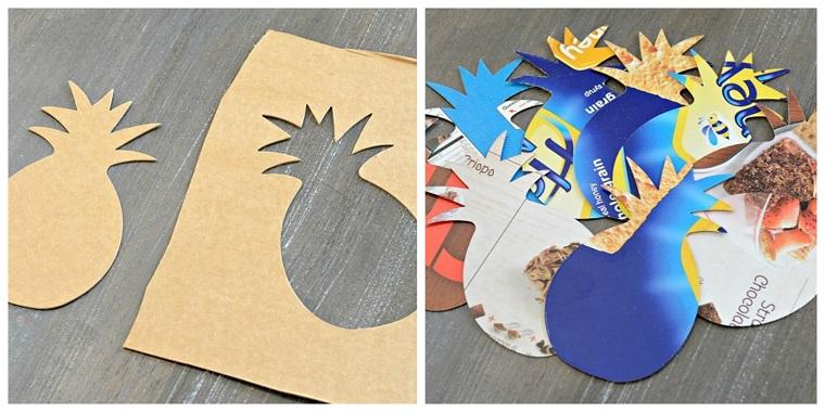 Cartoncino con disegni ritagliati, ritaglio di un ananas