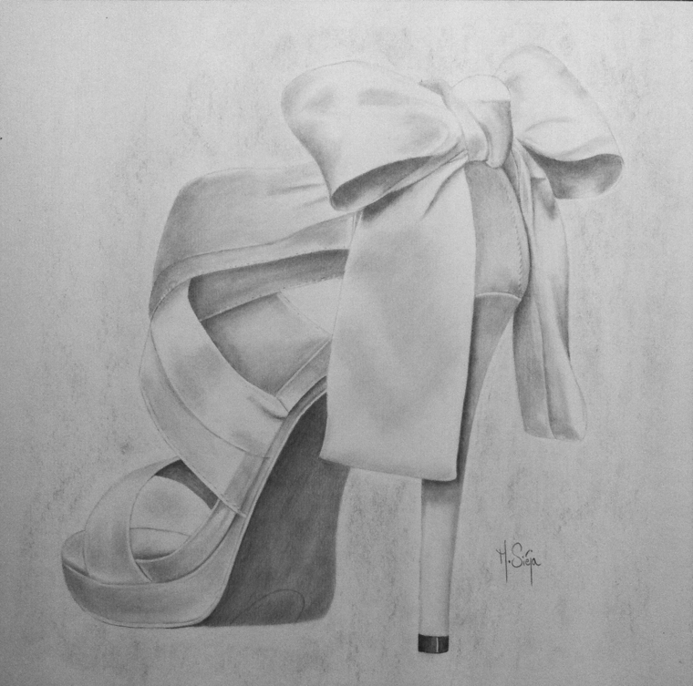 Cose facili da disegnare, disegno di una scarpa, sandali tacco alto