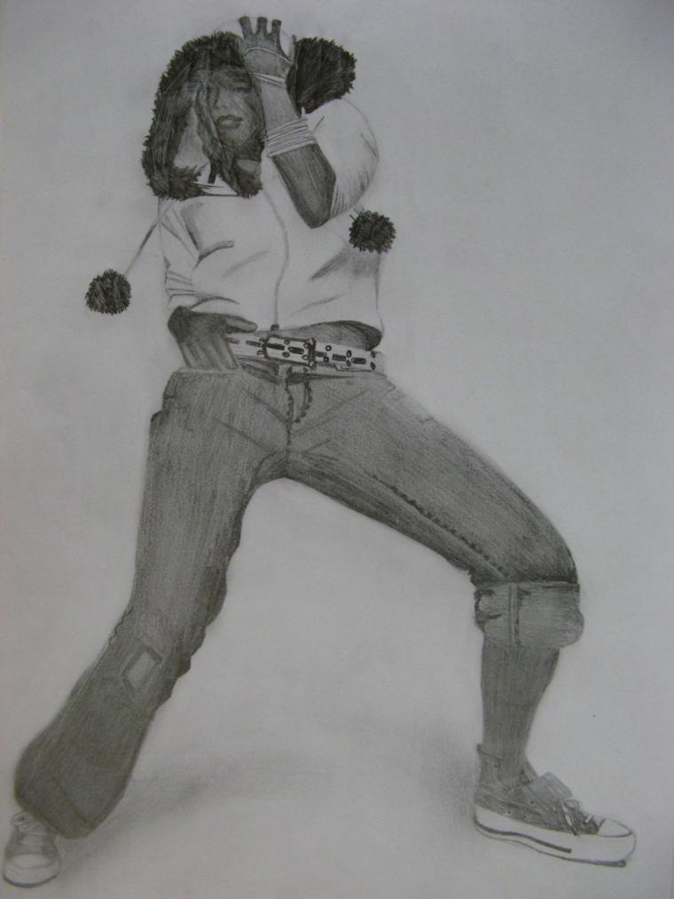 Disegno ragazza che balla, disegnare con matita, oscurare con la matita
