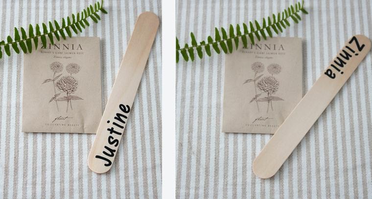 Bastoncino di legno con nome, rametto con foglie verdi, segnaposto fai da te