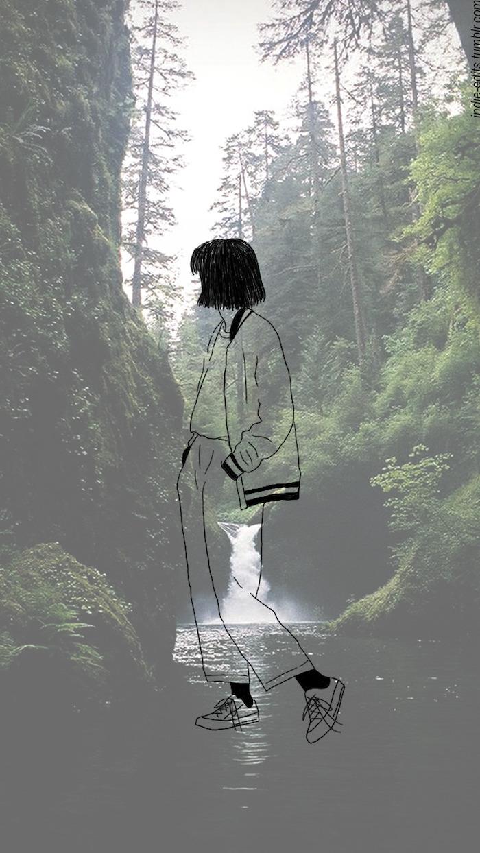 Foto artistiche tumblr, silhouette di una ragazza, foresta con alberi