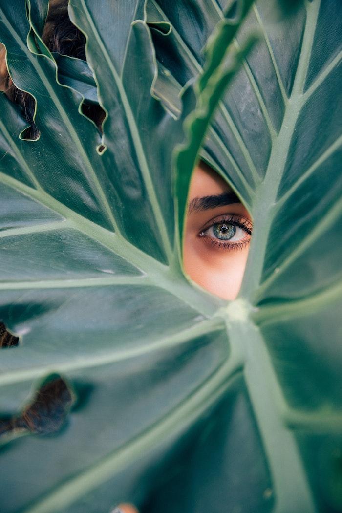 Sfondi cellulare tumblr, foglia di colore verde, occhio donna colore azzurro