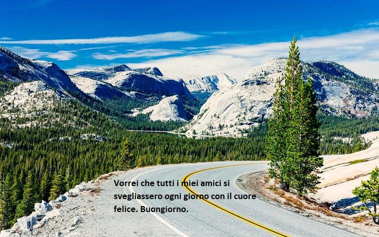 Frasi buongiorno simpatiche, strada in montagna, alberi verdi