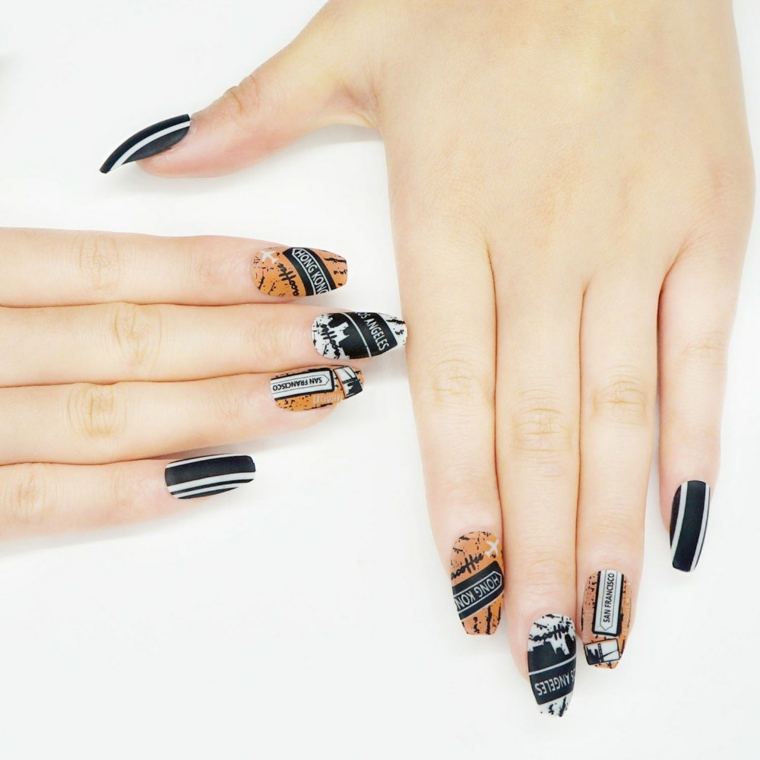 Disegni sulle unghie, smalto colorato, unghie forma quadrate