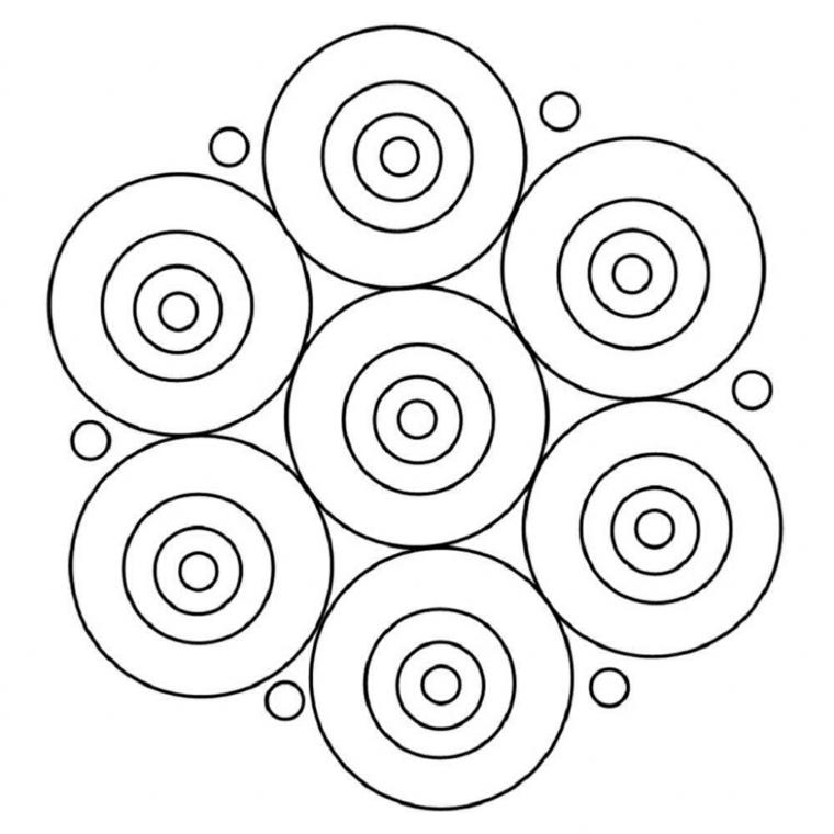 Disegno facile da colorare, disegni di cerchi, tipi di mandala