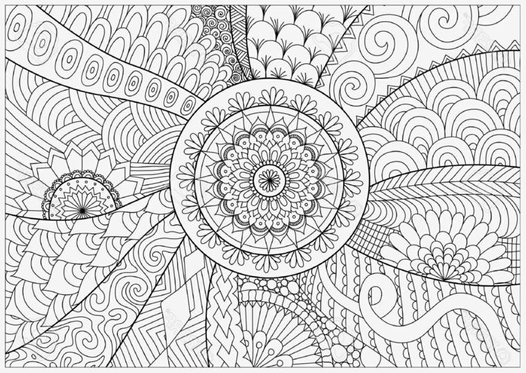 Motivi a spirale, cerchio con ornamenti, raffigurazioni mandala