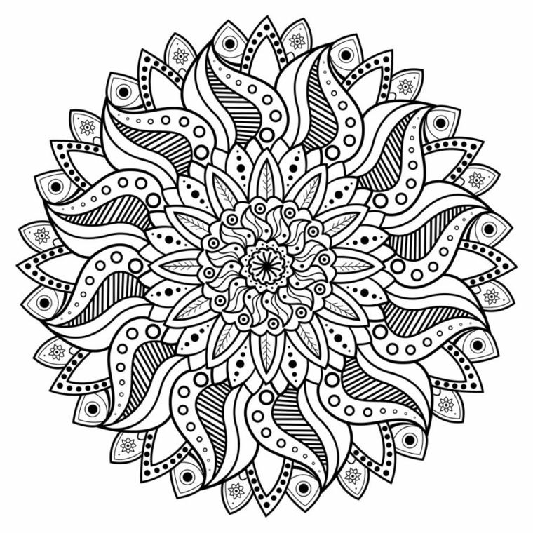 Tipi di mandala, disegno di un fiore, cerchi e puntini
