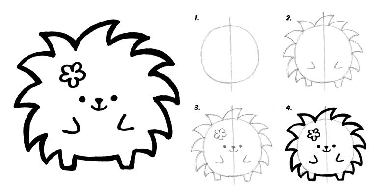 Disegno di un porcospino, disegni facili da fare, disegno porcospino da colorare