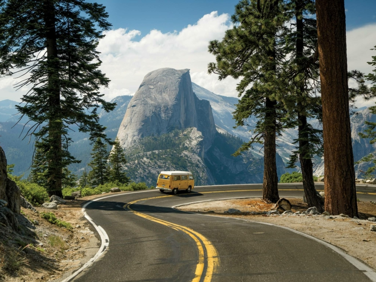 Strada nella foresta, alberi nella foresta, camper di colore giallo