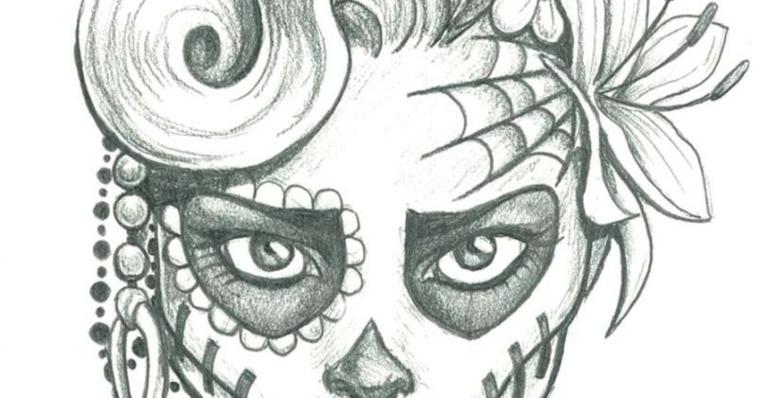 Disegno di sugar skull, fiore in testa, immagini da ricopiare