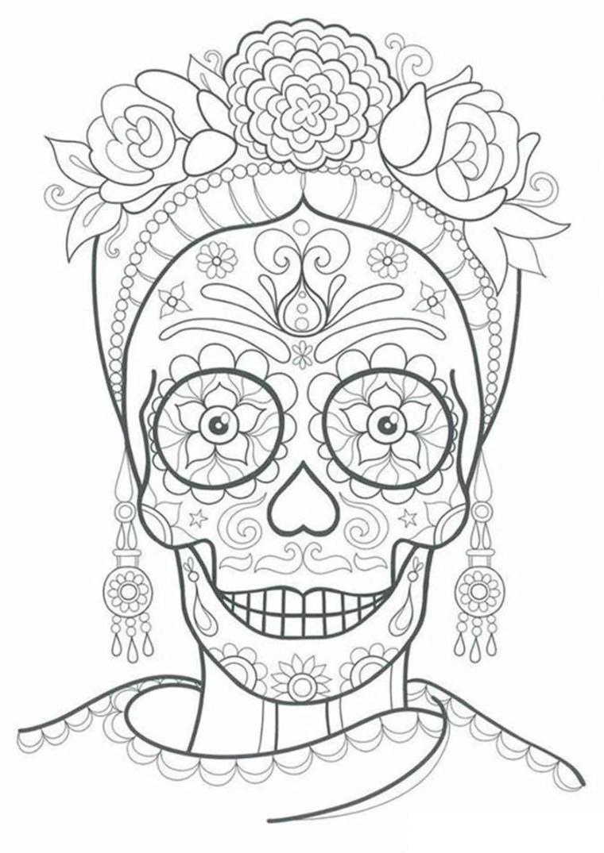 Sugar skull con ornamenti, disegni motivi floreali, disegni difficili da colorare