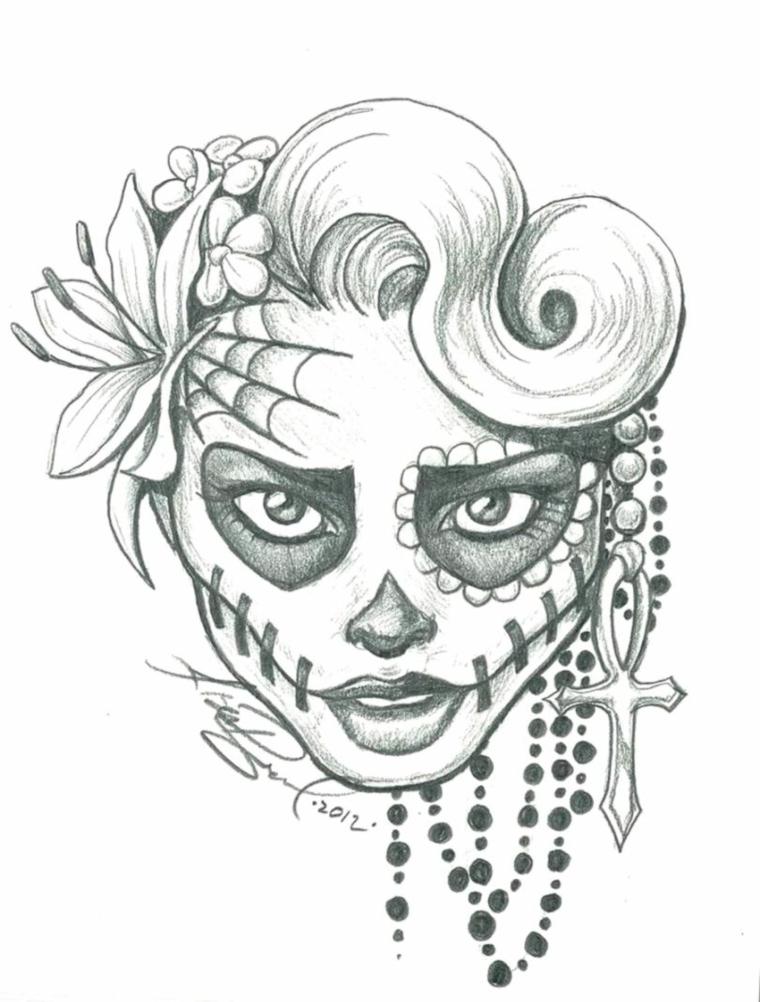 Disegno di sugar skull, disegni tridimensionali, accessori femminili