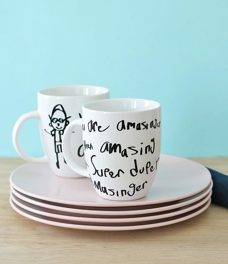 Lavoretti festa del papà, tazza di colore bianco, tazza con disegni