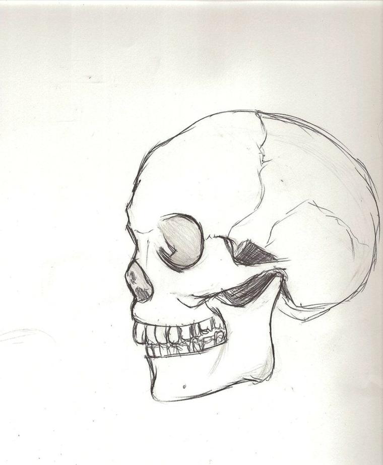 Disegno di un teschio, disegni tridimensionali, oscurare con la matita