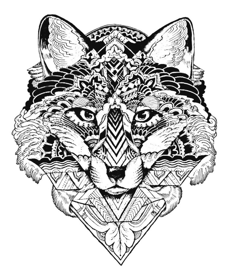 Disegni geometrici da colorare, triangolo con foglie, disegno di un animale