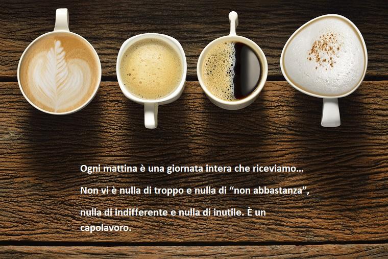Frasi buongiorno simpatiche, tazzine di caffè, cappuccino con cacao