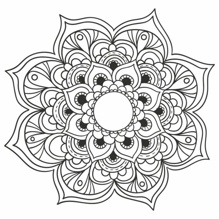 Mandala da colorare e stampare, disegno con cerchio all'interno