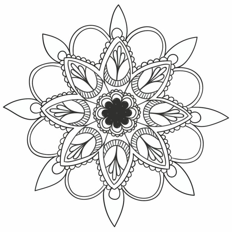 Ornamenti con semicerchi, mandala da colorare, mandala con fiori
