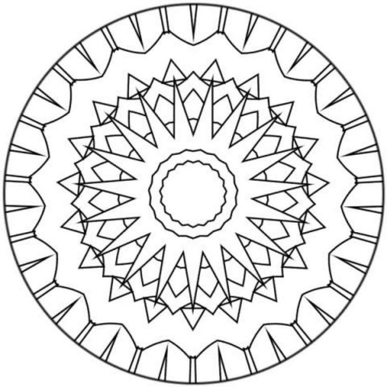 Mandala significato, disegno con raggi solari, cerchio con punte