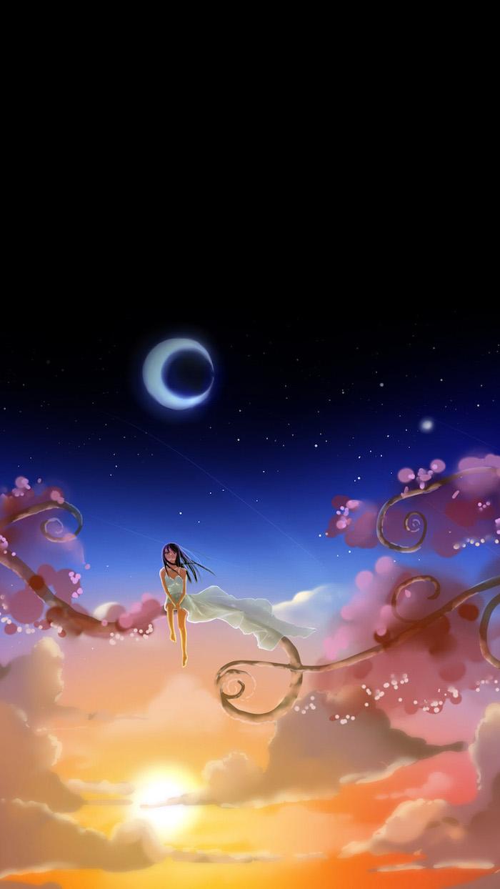 Sfondi tumblr, disegno colorato di una ragazza, mezza luna di notte