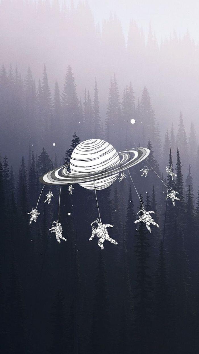 Sfondi cellulare tumblr, disegno di un pianeta, astronauti che volano