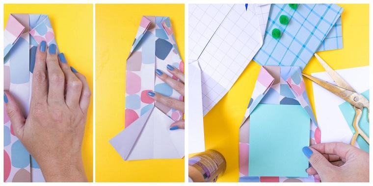 Festa del papà lavoretti, tutorial per cartolina, fogli di carta colorati