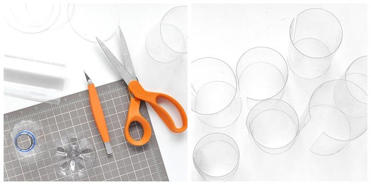 Bottiglie di plastica tagliate, forbici e taglierino