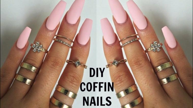Ricostruzioni unghie corte, smalto colore rosa, smalto rosa opaco