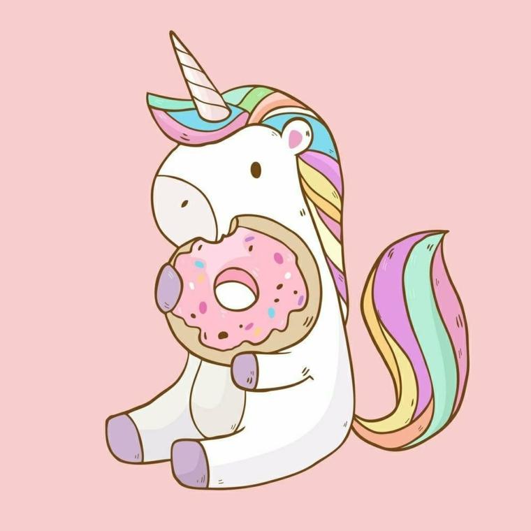 Unicorno con ciambella, immagini da disegnare facili, unicorno kawaii