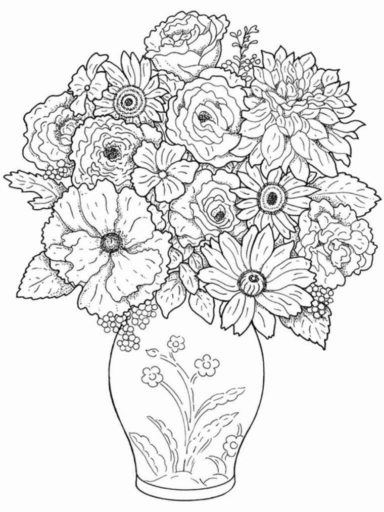 Disegno di un vaso, vaso con fiori, fiori con petali