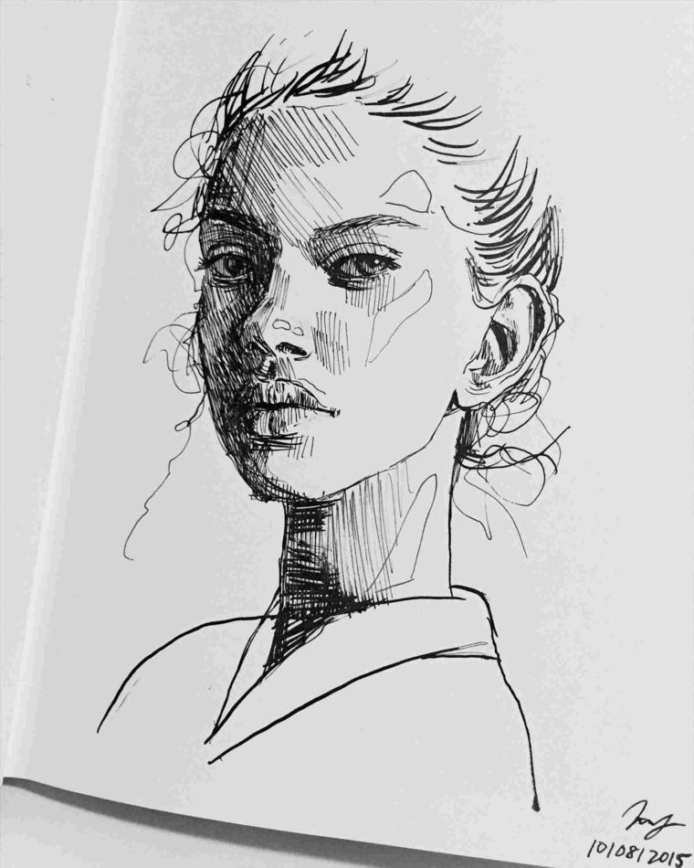 Ritratto femminile, disegno di un viso femminile, cose facili da disegnare