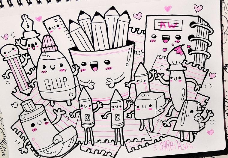 Disegni facili ma belli, accessori per la scuola, disegno da colorare, schizzi kawaii