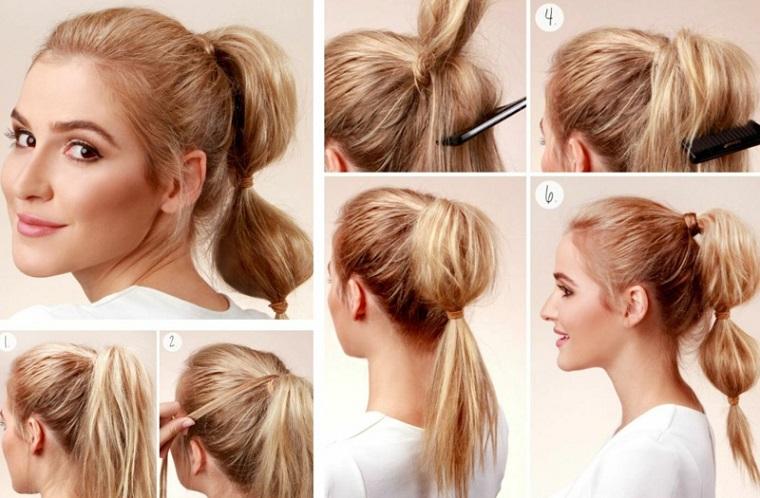 Acconciature facili e veloci, donna con capelli biondi, coda legata con elastici