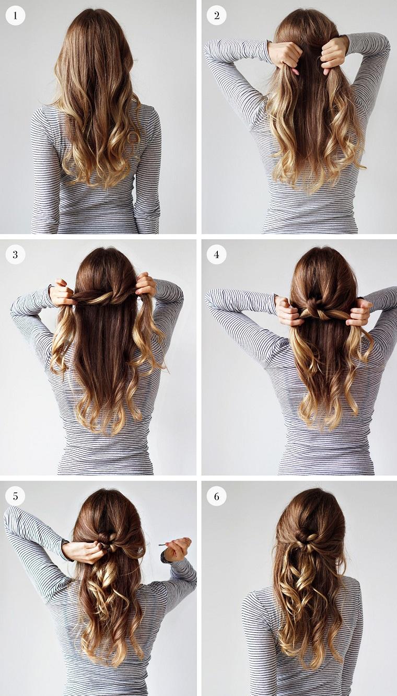 Acconciature capelli lunghi lisci, capelli biondi ombrè, tutorial coda a nodo