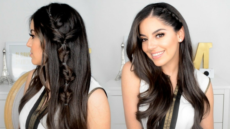 Trecce capelli tutorial, colore capelli neri, treccia laterale boxer, donna con capelli lunghi mossi