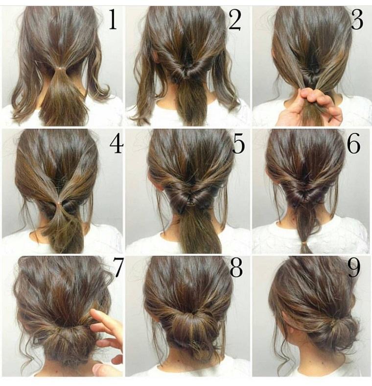 Pettinature capelli raccolti, tre ciocche di capelli, chignon basso mosso, tutorail per acconciatura