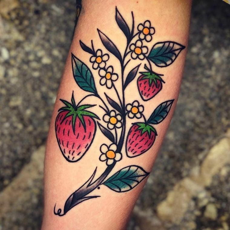 Tatto fragole rosse, tatuaggi e significati, tattoo avambraccio donna, braccio donna tatuato