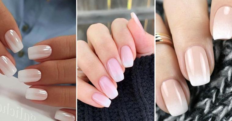 Forme unghie gel, smalto di colore rosa, forma unghie squadrate, smalto rosa baby boomer