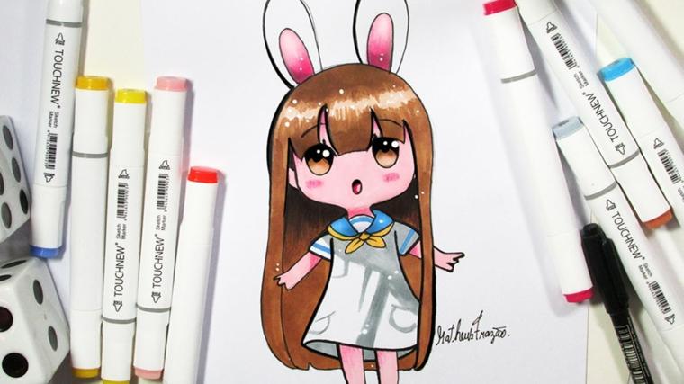 Disegni facili da disegnare, disegno di una bambina kawaii, pennarelli colorati