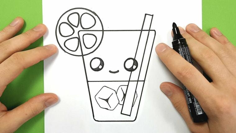 Bicchiere di acqua con ghiaccio, disegno di un bicchiere, schizzo da colorare, disegni belli e facili