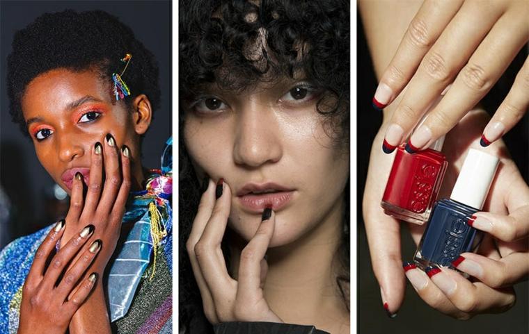 Due bottigliette di smalto, manicure forma a mandorla, french manicure colorata, unghie bellissime
