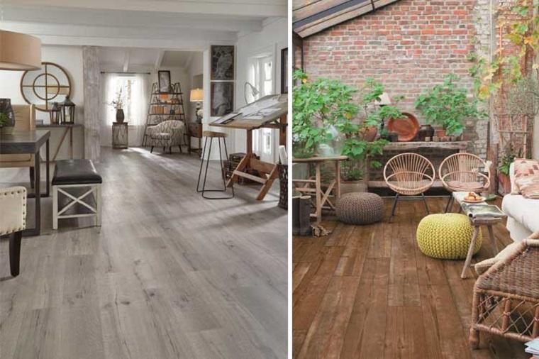 Arredamento soggiorno, pavimento in vinile colore grigio, mobili in rattan