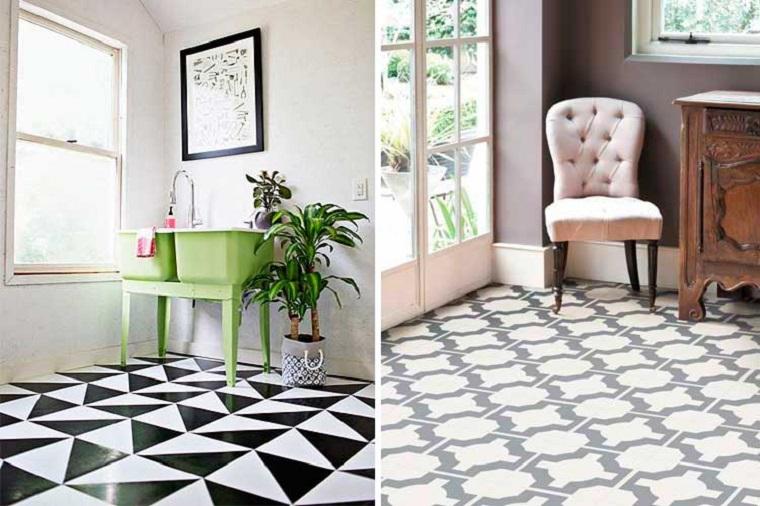 Pavimentazione soggiorno, pavimento in vinile bicolore, pavimento bianco e nero