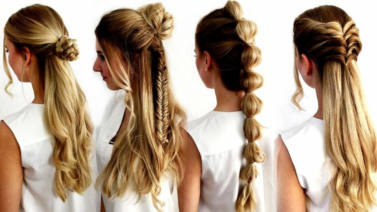 Trecce capelli tutorial, treccia a spina di pesce, treccia a chignon, donna con capelli biondi