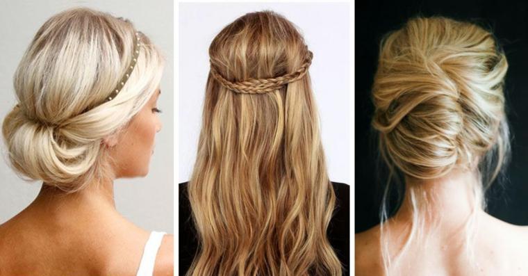 Pettinature capelli raccolti, chignon basso mosso, capelli lunghi mossi, treccia a corona