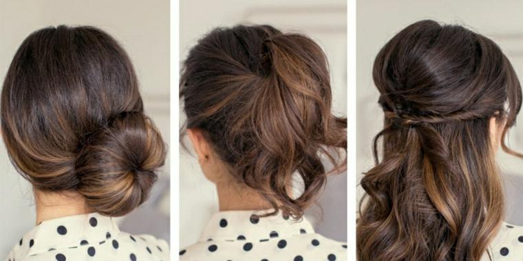Tre acconciature donna, come legare i capelli, donna con capelli castani