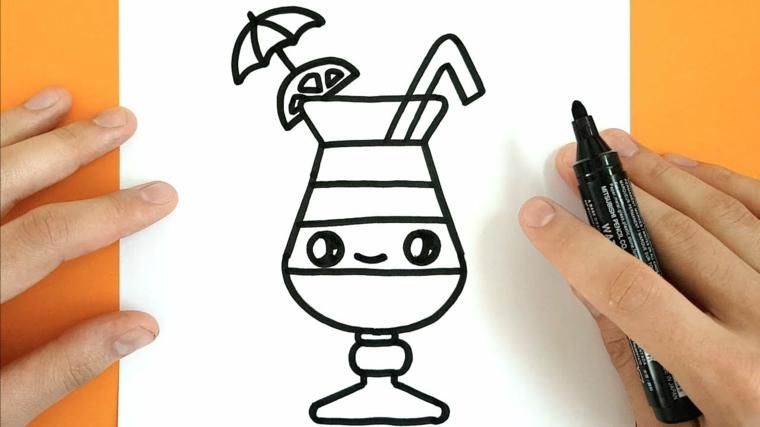 Disegno da colorare per bambini, bicchiere di vetro con faccina, bicchiere kawaii